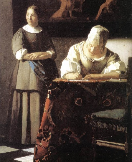 Lady r daction d une lettre et sa servante d tail jan for Biographie de vermeer