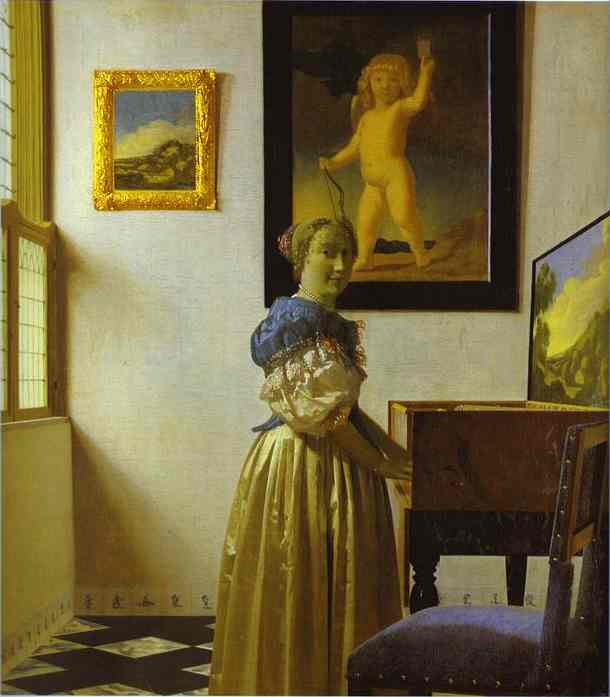 'Lady permanent au virginal', huile de Jan Vermeer (1632-1675, Netherlands)