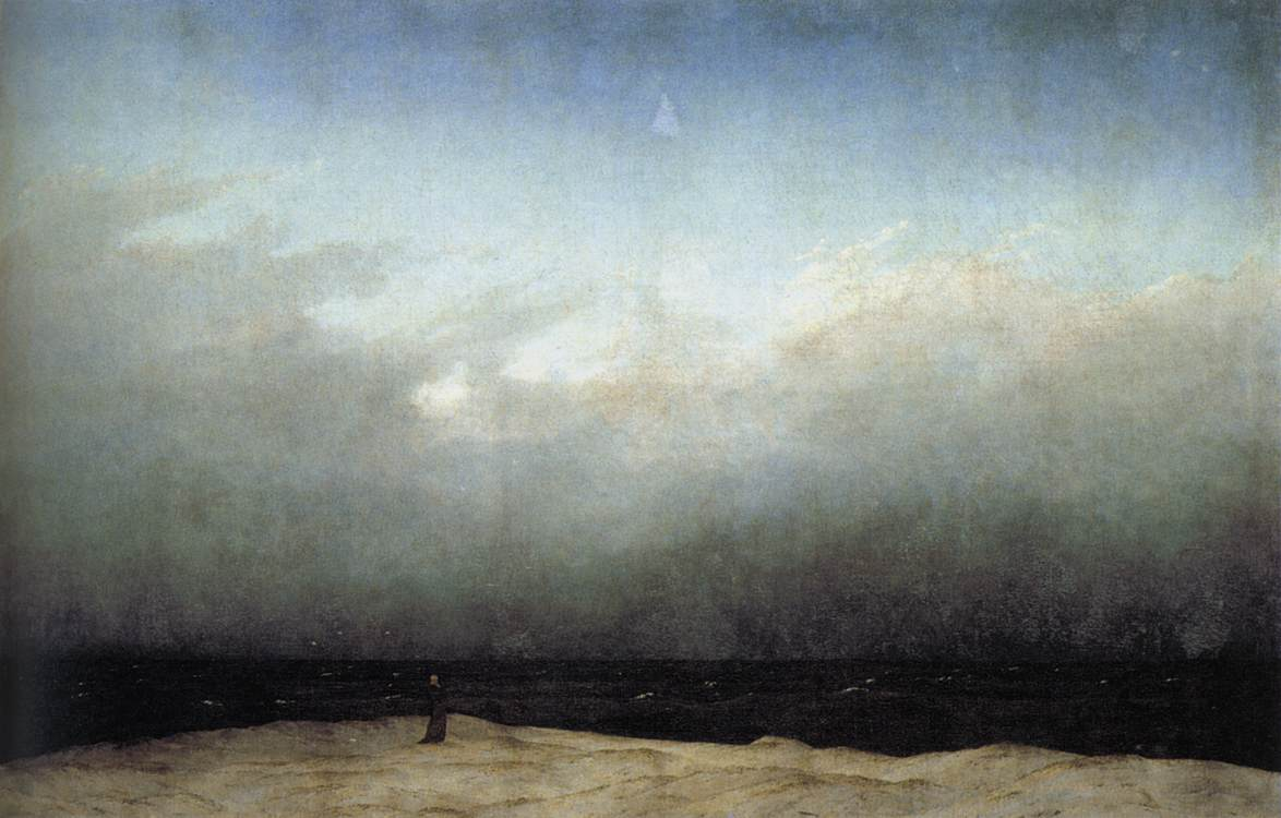 'Moine à la mer', huile de Caspar David Friedrich (1774-1840, Germany)