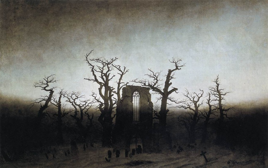 'L Abbaye de la Oakwood', huile de Caspar David Friedrich (1774-1840, Germany)