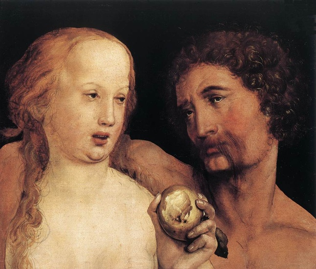 'Adam et Eve', huile de Hans Holbein The Younger (1497-1543, Germany)
