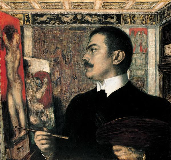 'Self Portrait', huile de Franz Von Stuck (1863-1928, Germany)