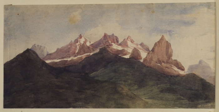 'Paysage alpin', aquarelle de George Frederic Watts (1817-1904, England)