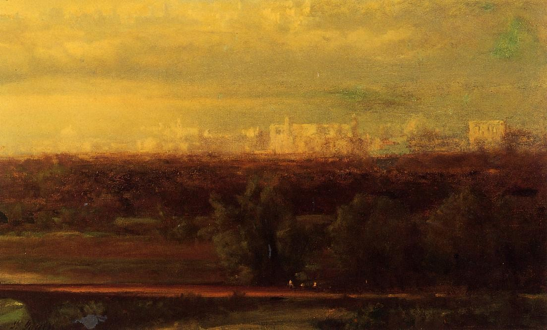 'visionnaire paysage', huile de George Inness (1825-1894, United States)