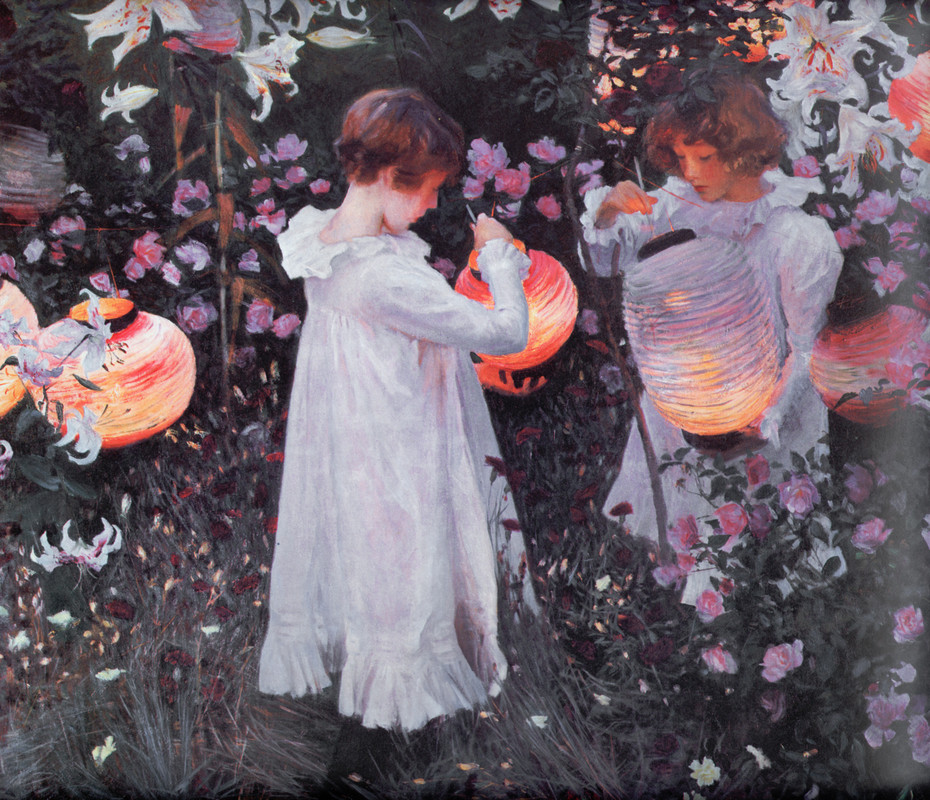 'Carnation, Lily, Lily, Rose', huile de John Singer Sargent (1856-1925, Italy)