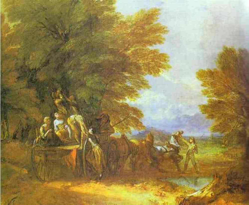 'The Harvest Wagon', huile de Thomas Gainsborough (1727-1788, England)