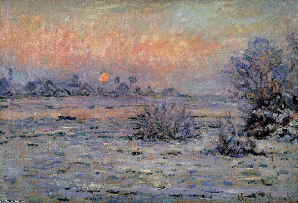 'Winter Sun, Lavacourt', huile de Claude Monet (1840-1926, France)