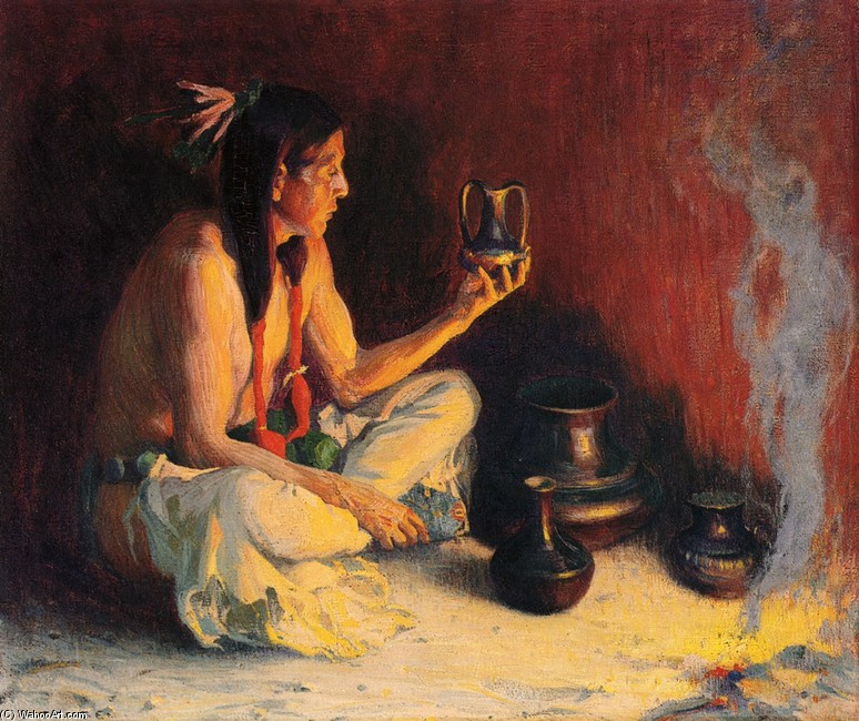 'Taos indiens et poterie', dessin de Eanger Irving Couse (1866-1936, United States)