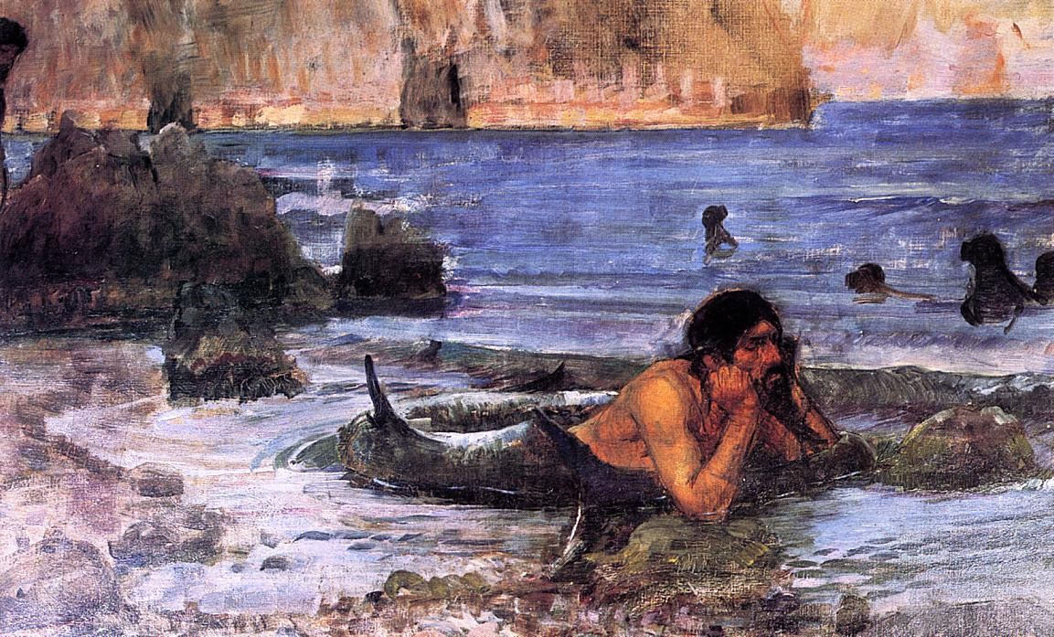 John William Waterhouse >> The Merman (sketch)  |  (huile, reproduction, copie, tableau, oeuvre, peinture).