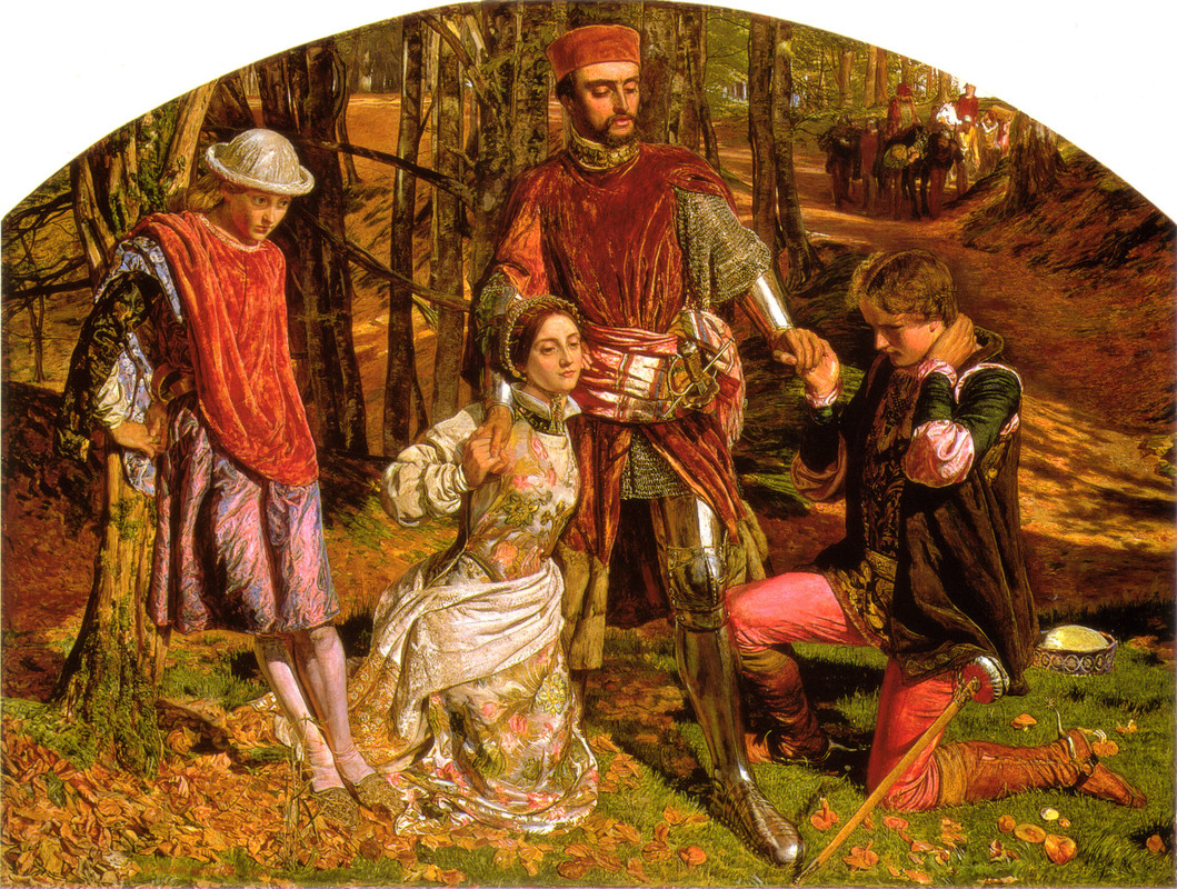 William Holman Hunt >> Valentine Sylvia from Proteus  |  (huile, reproduction, copie, tableau, oeuvre, peinture).