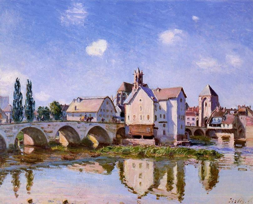 Alfred Sisley >> `l` Moret pont dedans la lumière du soleil