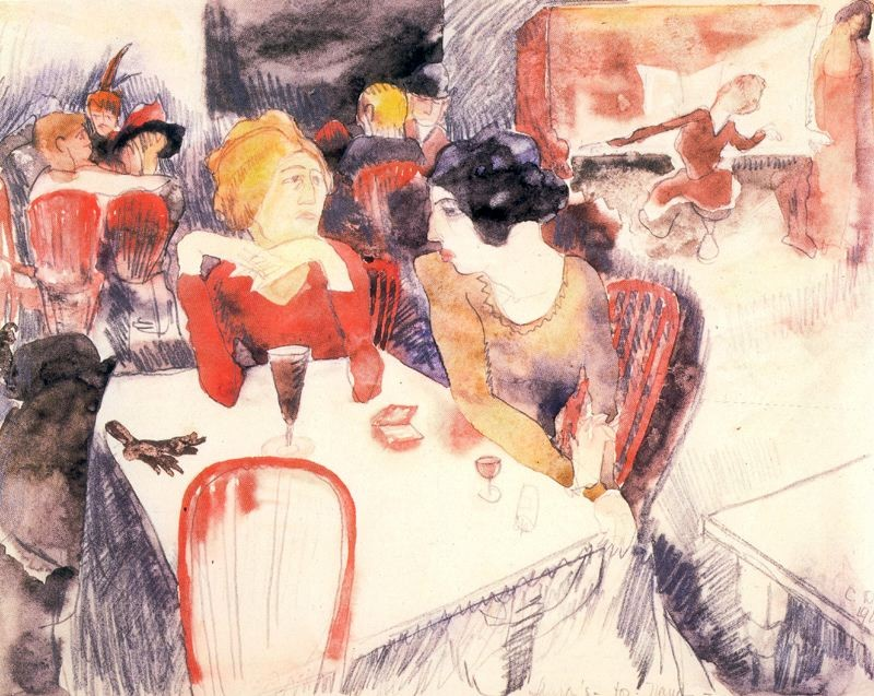 Charles Demuth >> Nana, seated left, and satin at Laure's Restaurant  |  (aquarelle, reproduction, copie, tableau, oeuvre, peinture).