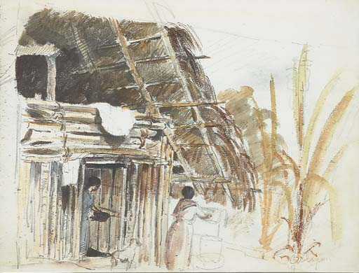 A hut with two women and a dog in the foreground, Galipan (Camille Pissarro)