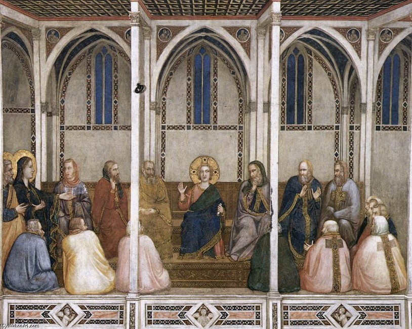 Giotto - Ambrogio Bondone >> Christ Among the Doctors (North transept, Lower Church, San Francesco, Assisi)  |  (huile, reproduction, copie, tableau, oeuvre, peinture).