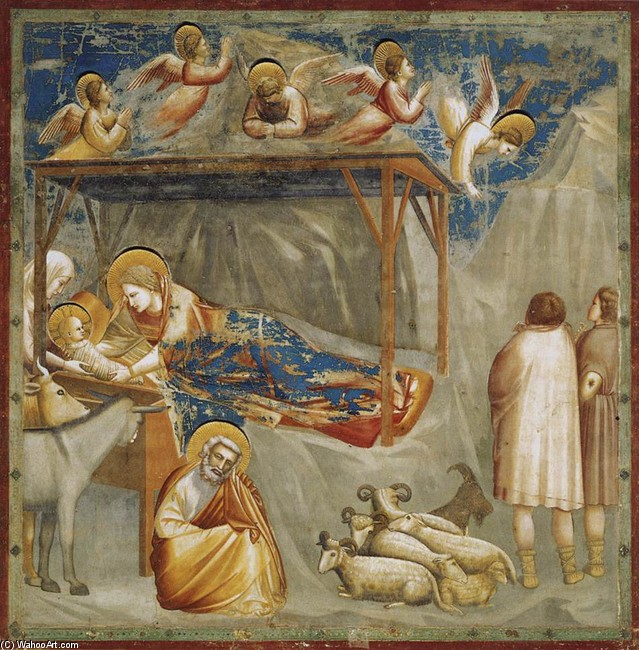 Giotto - Ambrogio Bondone >> Scenes from the Life of Christ. 1. Nativity. Birth of Jesus (Cappella Scrovegni (Arena Chapel), Padua)  |  (huile, reproduction, copie, tableau, oeuvre, peinture).