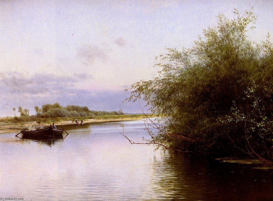 Pêcheur et lavandières By The River (Emilio Sanchez-Perrier)