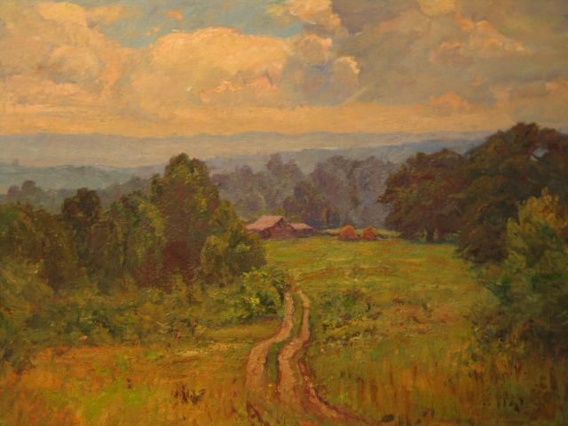 Theodore Clement Steele - Paysage avec grange (Road to Cottage)