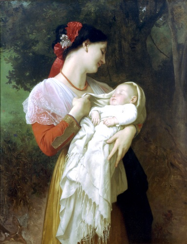 Admiration maternelle, huile de William Adolphe Bouguereau (1825-1905, France)