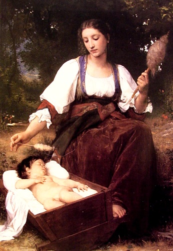Berceuse, Huile au de William Adolphe Bouguereau (1825-1905, France)