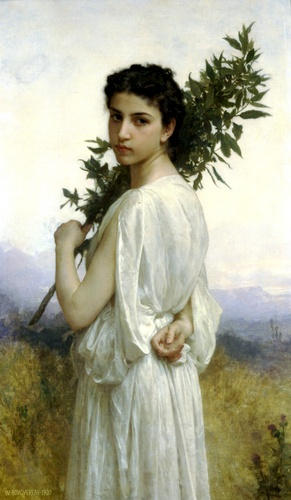 Branche de laurier, huile de William Adolphe Bouguereau (1825-1905, France)