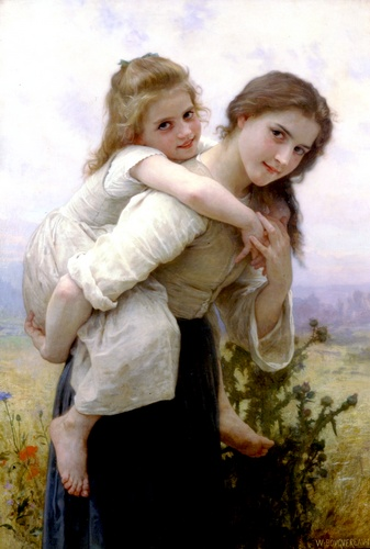 Fardeau Pleasant, huile de William Adolphe Bouguereau (1825-1905, France)