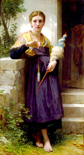 Fileuse, huile de William Adolphe Bouguereau (1825-1905, France)