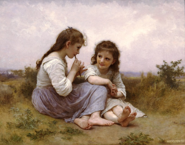 Idylle enfant, huile de William Adolphe Bouguereau (1825-1905, France)
