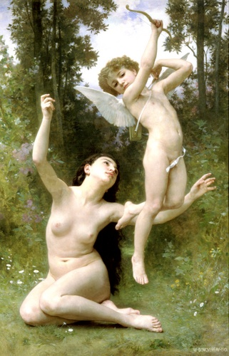 Lamour senvole, huile de William Adolphe Bouguereau (1825-1905, France)