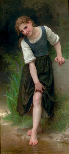 Le Gue, huile de William Adolphe Bouguereau (1825-1905, France)