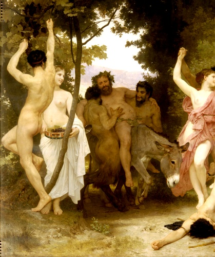 Jeunesse de Bacchus gauche dt, huile de William Adolphe Bouguereau (1825-1905, France)