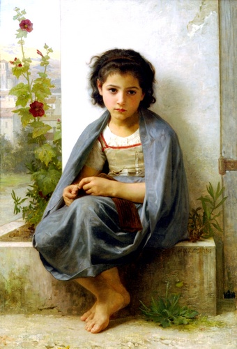 La tricoteuse, huile de William Adolphe Bouguereau (1825-1905, France)