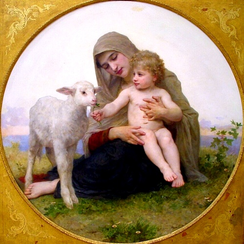 Commander Poster Sur Toile La Vierge Lagneau de William Adolphe Bouguereau (1825-1905, France) | WahooArt.com | Commander Impression Sur Toile Texturée Avec Cadre La Vierge Lagneau de William Adolphe Bouguereau (1825-1905, France) | WahooArt.com