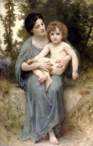 Le frère cadet, huile de William Adolphe Bouguereau (1825-1905, France)