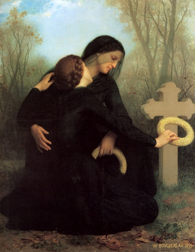 Jour des morts, huile de William Adolphe Bouguereau (1825-1905, France)