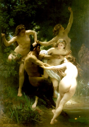 Nymphes et satyre, huile de William Adolphe Bouguereau (1825-1905, France)