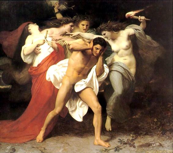 Oreste poursuivi par les Furies de William Adolphe Bouguereau (1825-1905, France) | Reproductions D'art Sur Toile | WahooArt.com