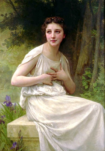 Réflexion, huile de William Adolphe Bouguereau (1825-1905, France)