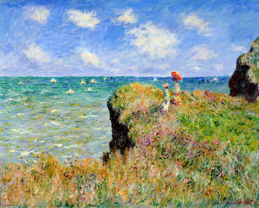 Marche falaise à Pourville, 1882 de Claude Monet (1840-1926, France) | Reproductions D'art Claude Monet | WahooArt.com