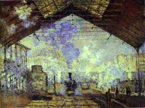 Claude Monet - gare saint lazare , Pari - (reproduction de peintures célèbres)