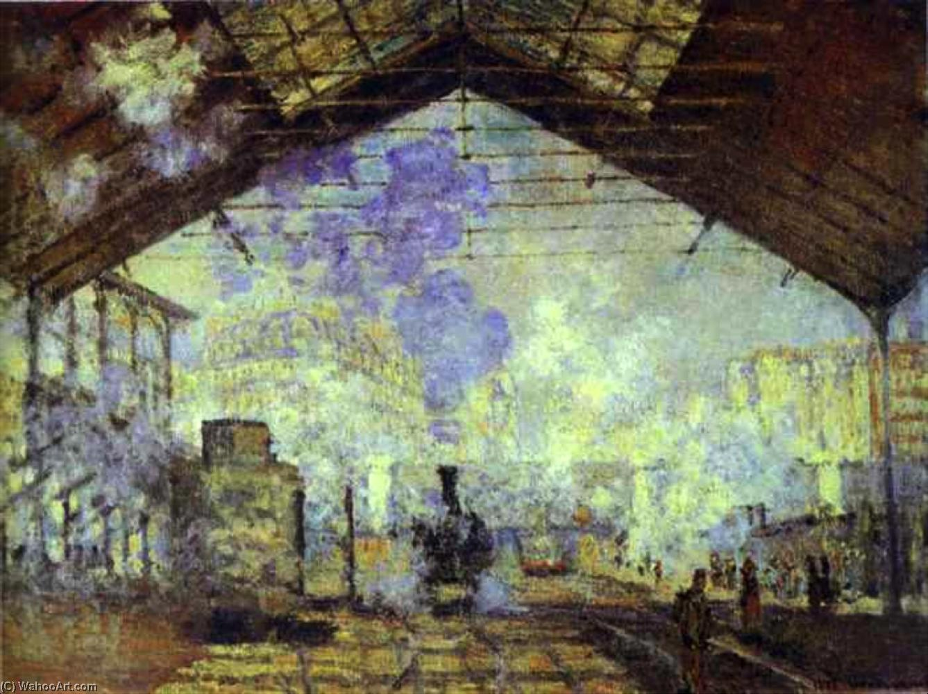 gare saint lazare , Pari, 1877 de Claude Monet (1840-1926, France) | Reproductions D'œuvres D'art Claude Monet | WahooArt.com