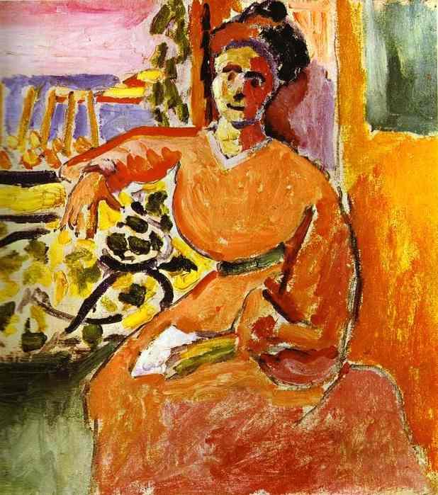 Une femme assise devant la fen tre de henri matisse 1869 for Devant la fenetre
