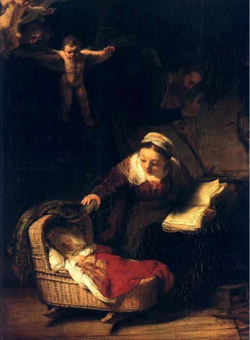 la sainte famille avec anges , st petersbourg, 1645 de Rembrandt Van Rijn (1606-1669, Netherlands) | Reproductions D'œuvres D'art Rembrandt Van Rijn | WahooArt.com
