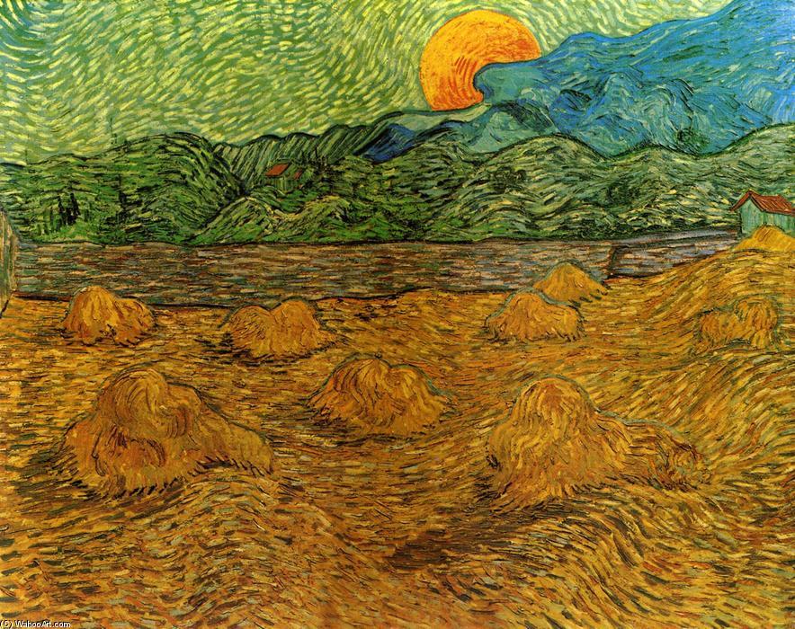 Paysage nocturne au lever de la lune de Vincent Van Gogh