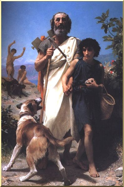 Homer et son guide, huile de William Adolphe Bouguereau (1825-1905, France)