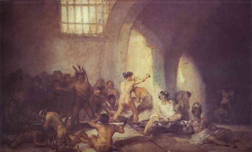 Le Madhouse, Huile de Francisco De Goya (1746-1828, Spain)