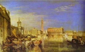 William Turner - un pont de signes , Ducal Palais et Custom-House , venise canaletti peinture