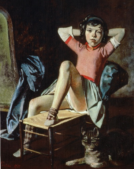 fille avec cat, 1937 de Balthus (Balthasar Klossowski) (1908-2001, France)