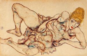 Egon Schiele - inclinable femme blonds Cheveux