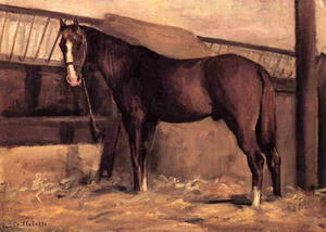 Gustave Caillebotte - Yerres , rougeâtre bay horse dans le stable