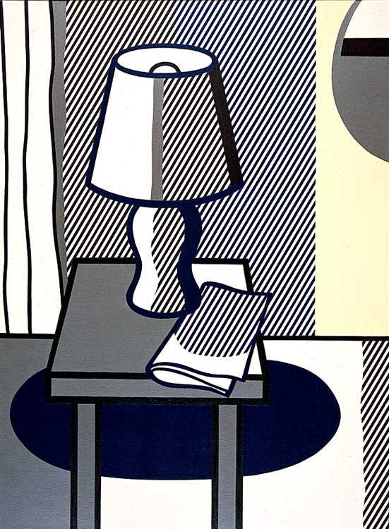 nature morte avec table lampe, Huile de Roy Lichtenstein (1923-1997, United States)